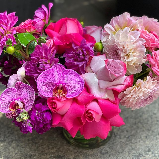 Designer choice arrangement created by Alan #lux #rose #san #orchid #fushia #trendy #design