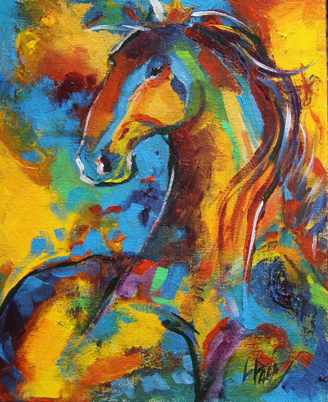 Horse 75 Leaves of Gold 8 x 10 Acrylic on Panel