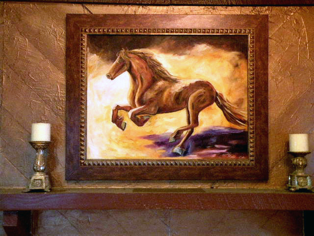 Soft Glow horse in motion painting.