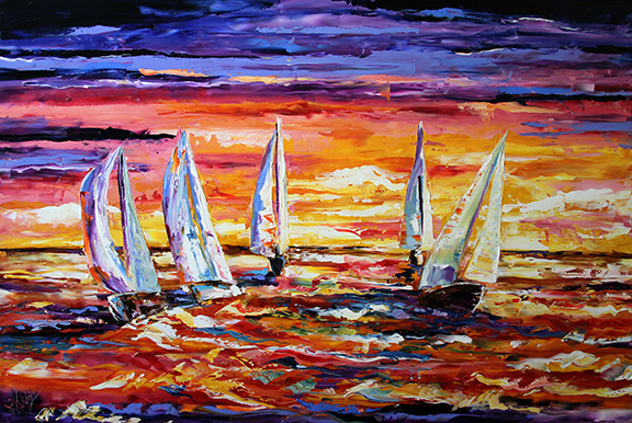 Golden Sunset Sail © Laurie Pace 2013  32 x 48 inches Oil