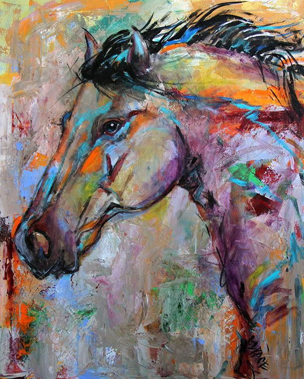 Intent Horse 24 x 30 SOLD © Laurie Justus Pace 2013