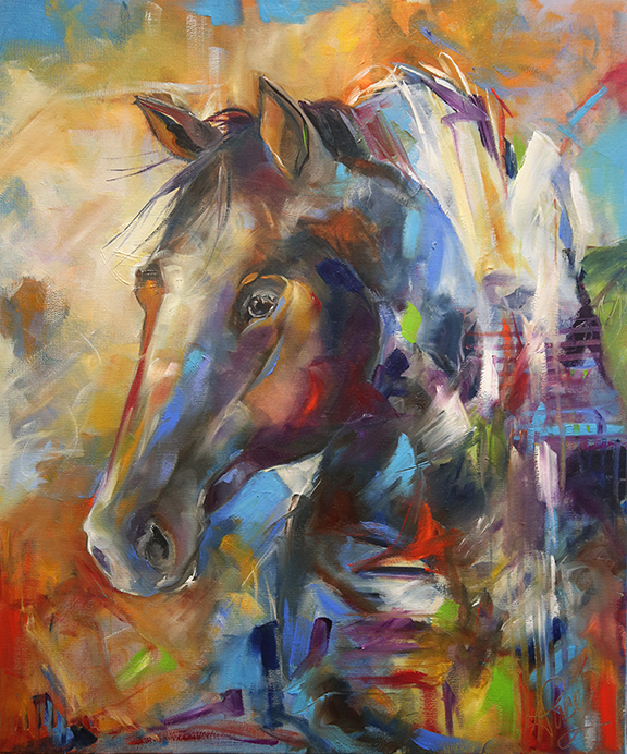 Coming Home 24 x 30 inches Oil on Canvas. © Laurie Justus Pace, Pure Justus Collection