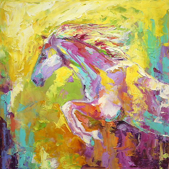 blog 350 The Flyer - Horse 16 x 16 Oil on Birch Laurie Justus Pace Pure Justus 7-18.png