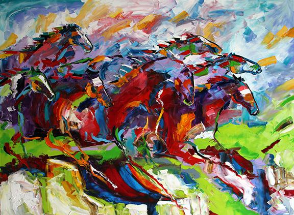 On The Lamb 32 x 48 inches Oil SOLD © Laurie Justus Pace 1998-2018