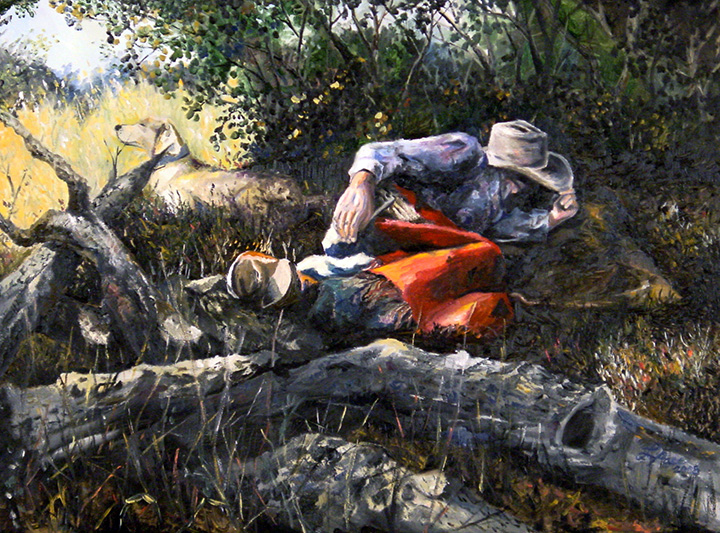 Sleeping Cowboy . Painted Gift for the Fletchers . 2004 Laurie Pace
