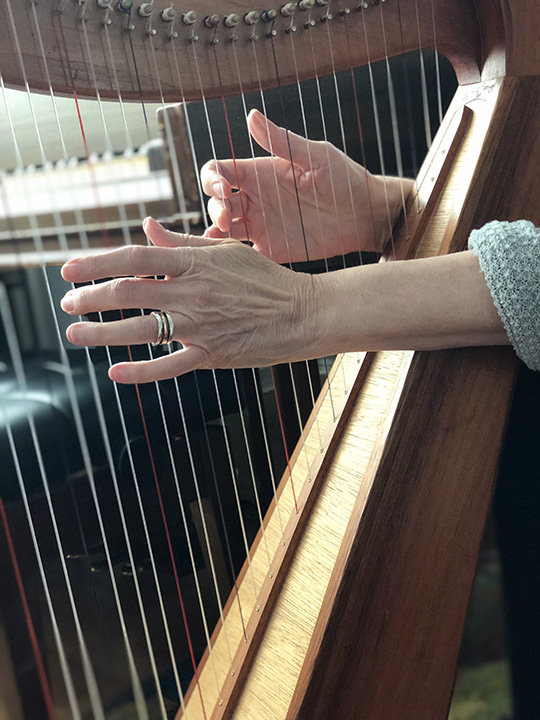 Laurie Pace on her Australian Harp, strumming the strings.