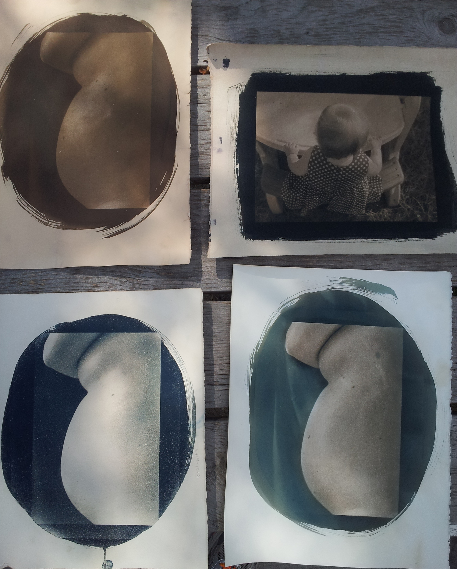 """3 versions of """"30 weeks"""" and a toned print of """"Ruby at Her Table"""""""