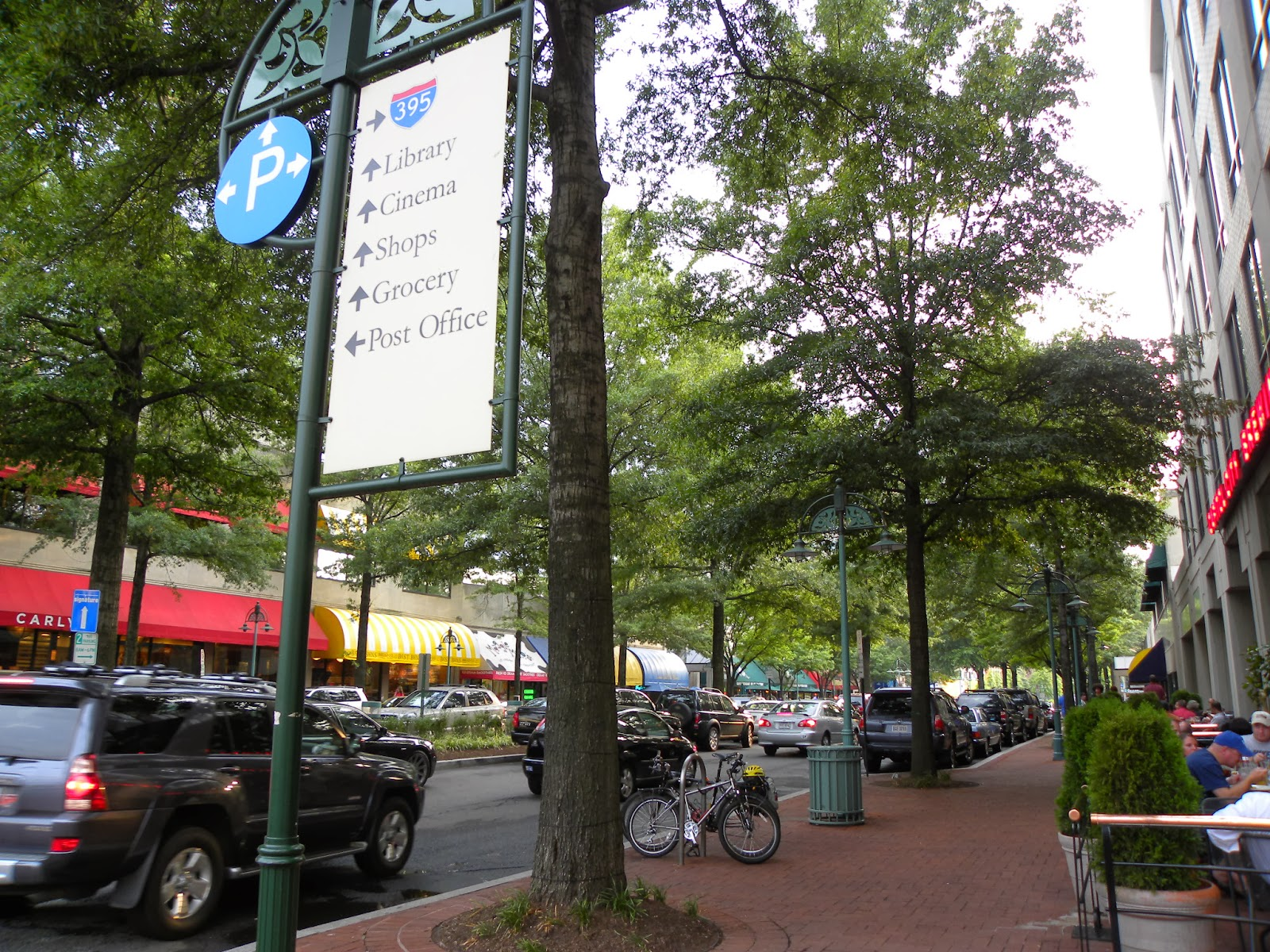 Tree plantings are an integral part of the streetscape in downtown Shirlington, Virginia