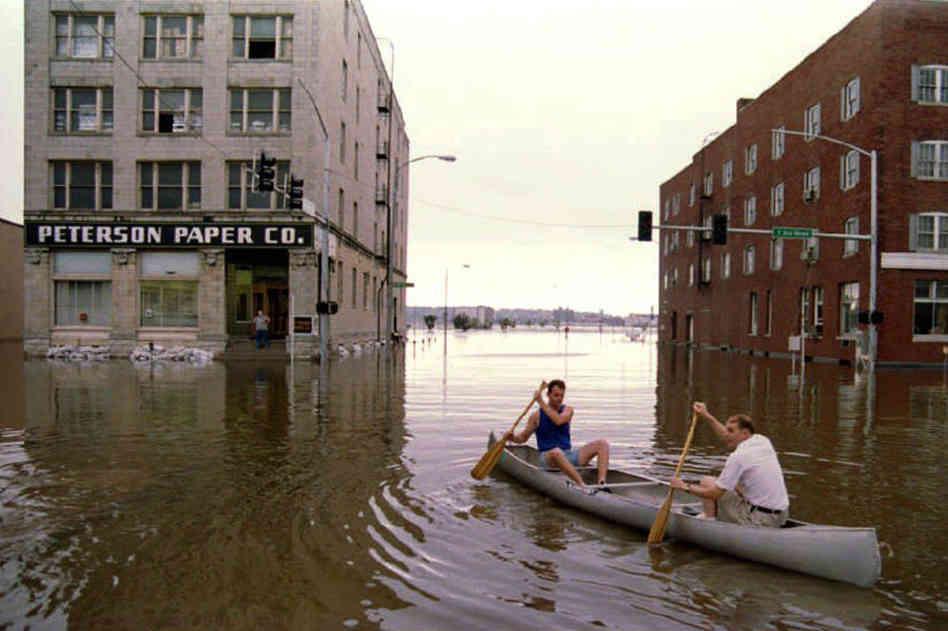 Floodwaters in Davenport, Iowa. Photo credit NPR.