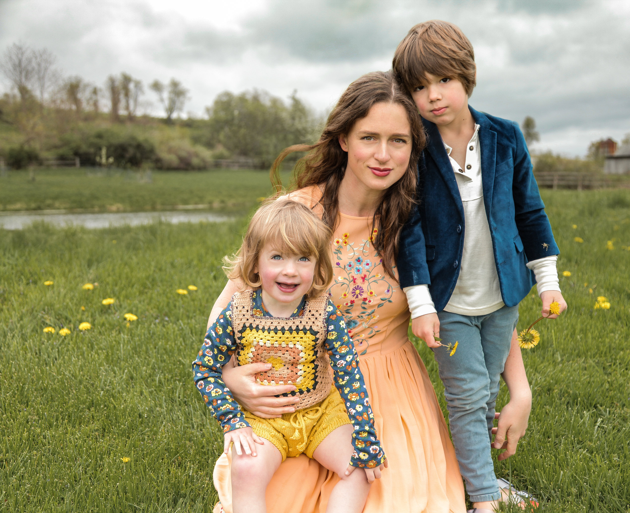 Glynis and her children, Vivi and Everett, on their farm in Dutchess Co.