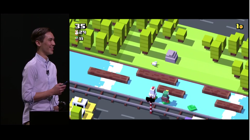 Andy presenting multi-player Crossy Road at the  September 9 Apple event