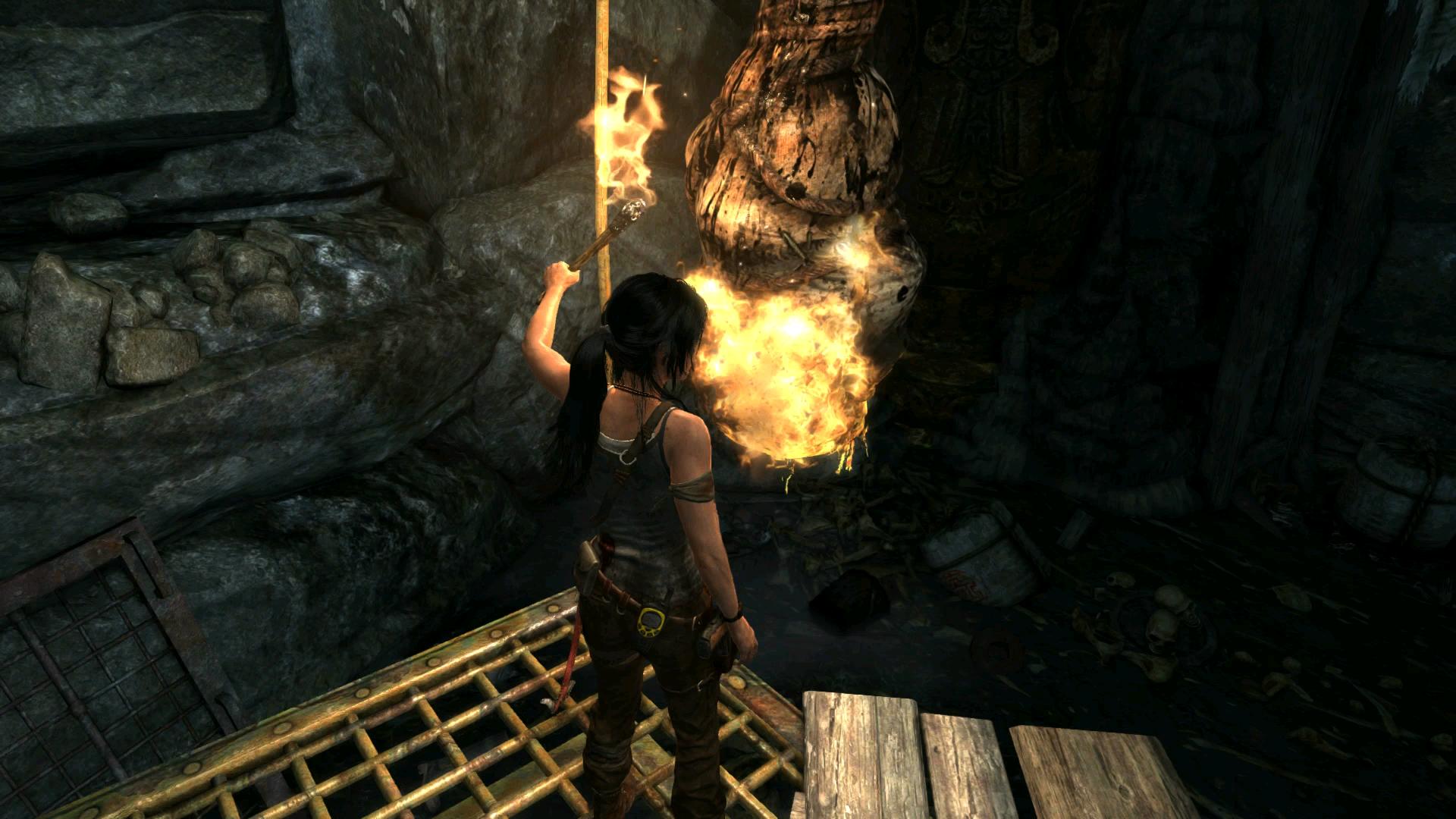 Lightin' up some dangling corpses, no big