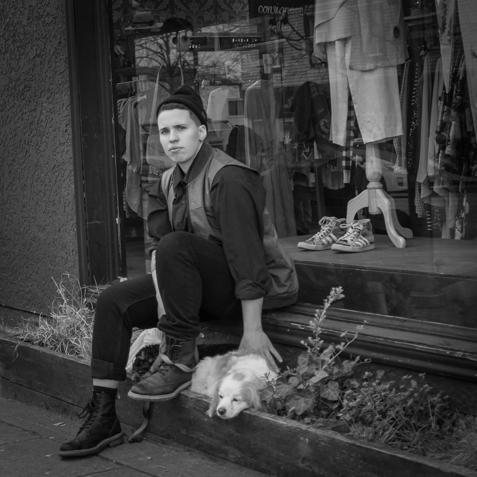 Hipster with dog Main St., Vancouver Fuji X100T 3.16