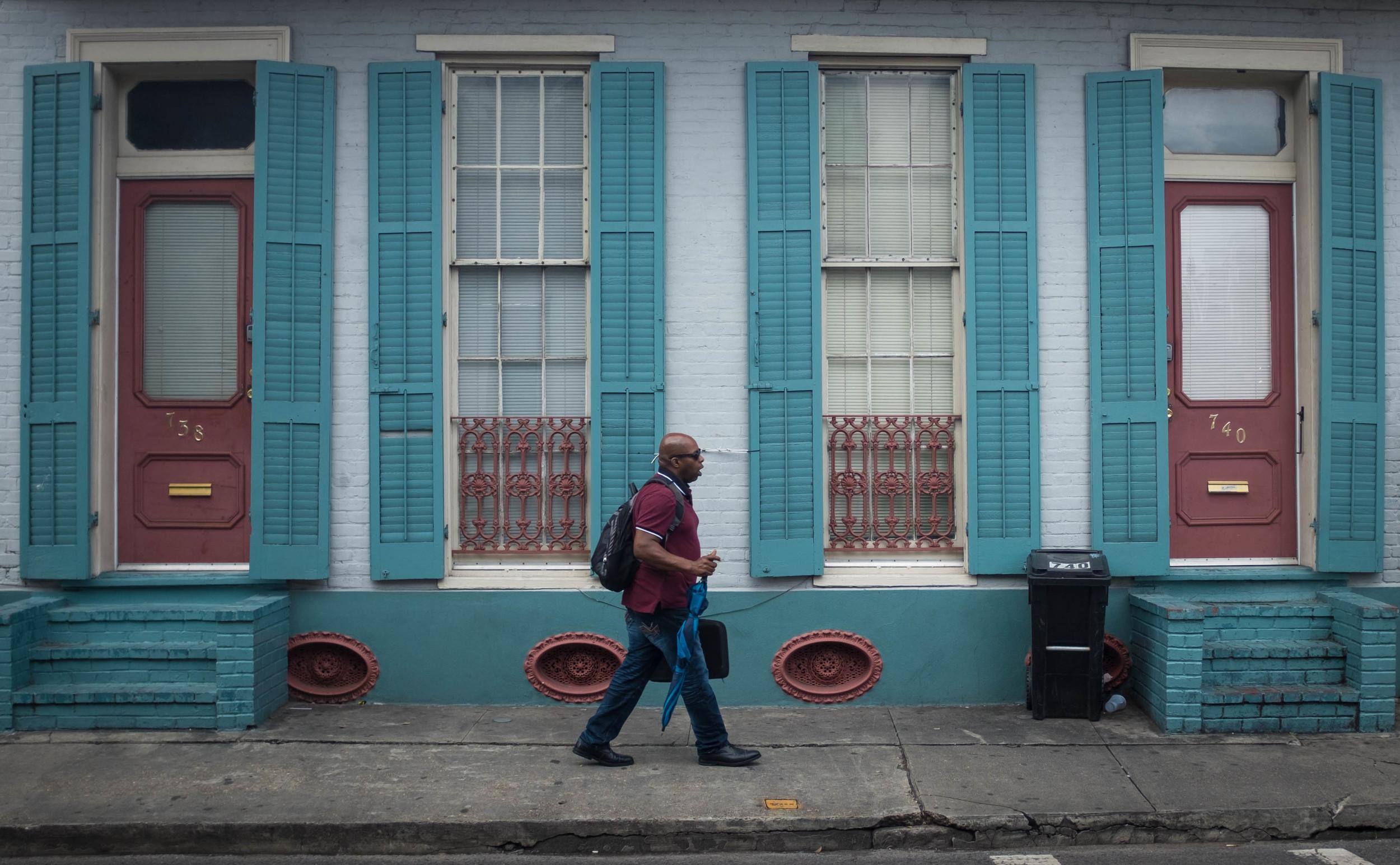 Man walking in French Quarter New Orleans, LA Fuji X100T 6.16