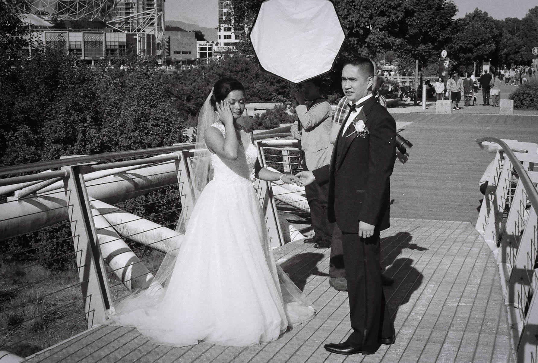 Wedding day Olympic Village, Vancouver Canon L1, 50mm F1.4  TMax 400 film 7.16