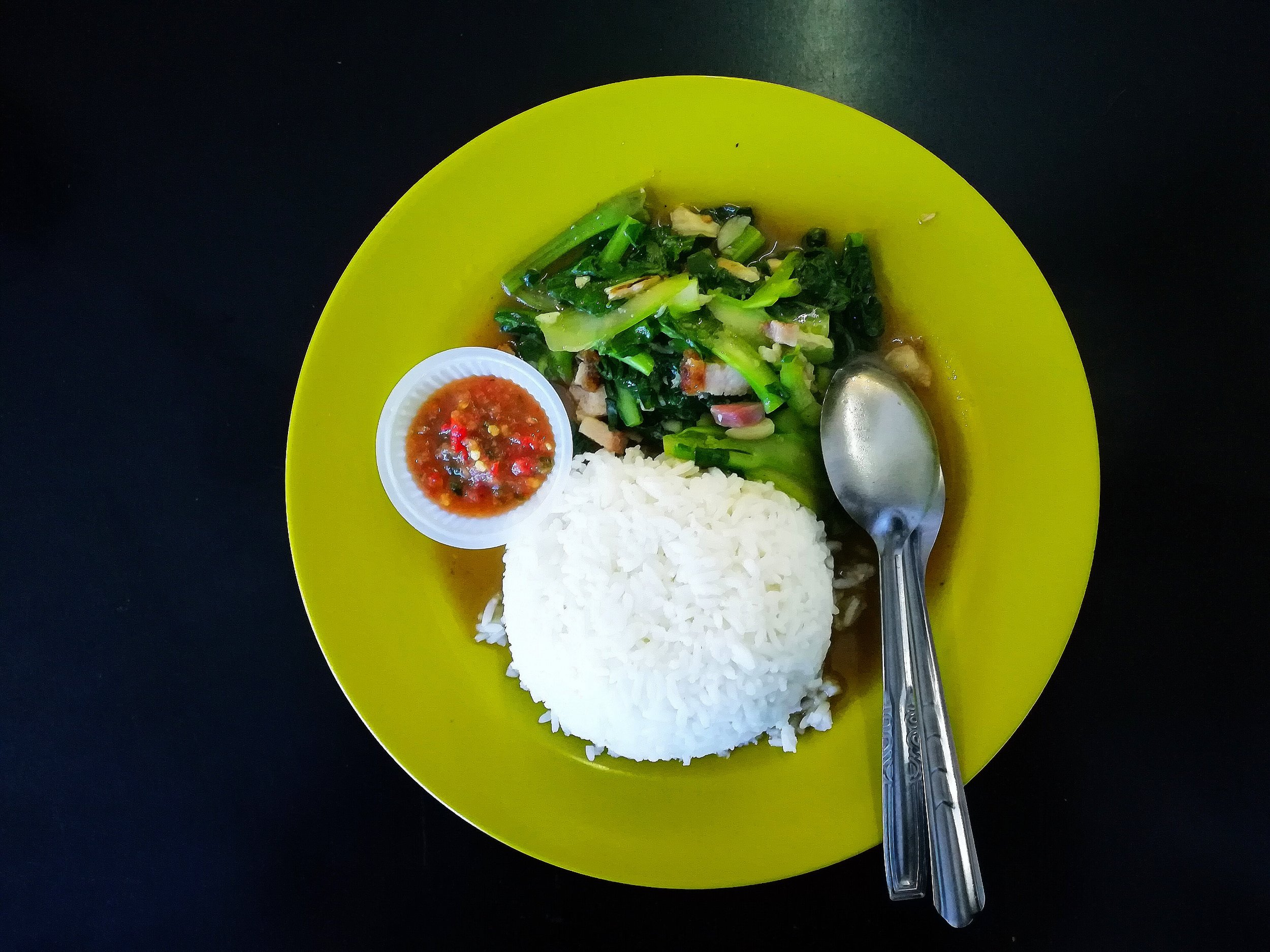 Penang food thai pork rice with veges