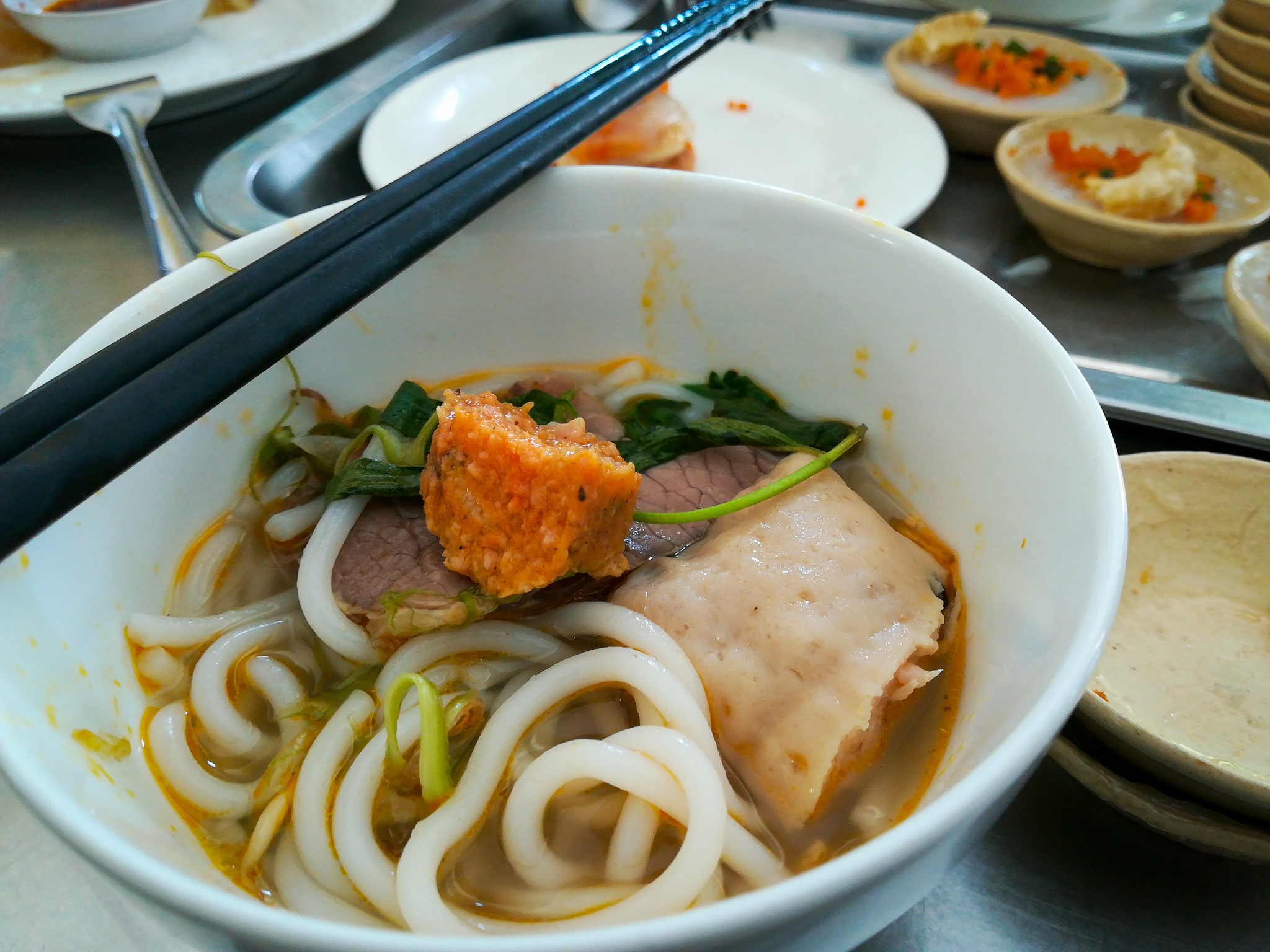Bun Bo Hue is rice noodles in beef broth, which was lip smacking-ly good. This style of Bun Bo is from the old imperial city of Hue, which I very much hope to visit soon.