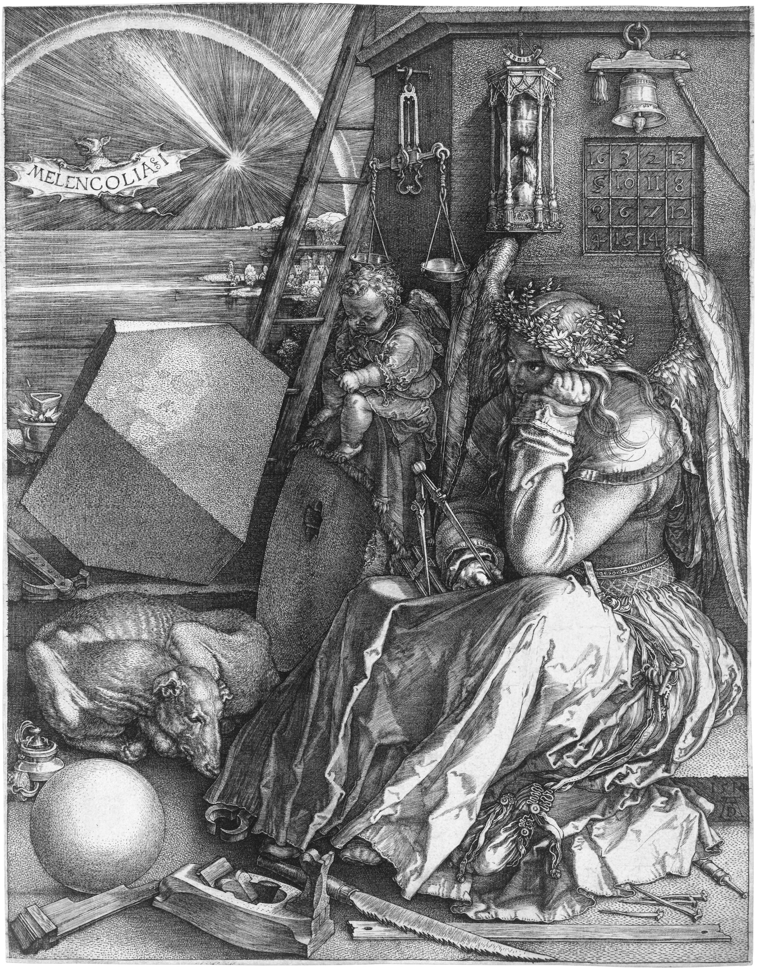 Melencolia I is a 1514 engraving by the German Renaissance artist Albrecht Dürer.