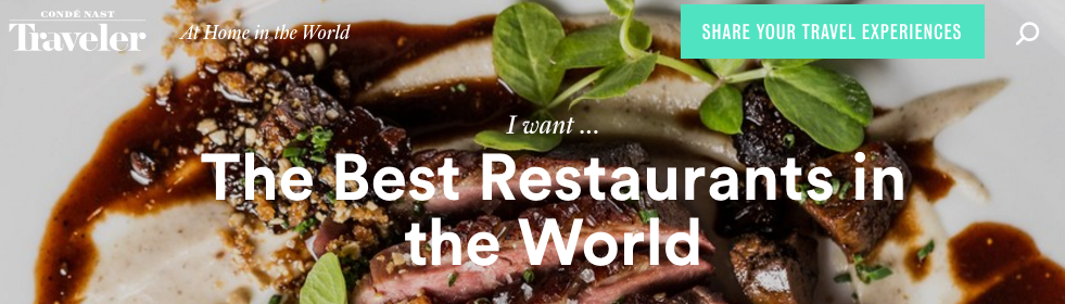 2016 Conde Nast : The Best Restaurants in the World