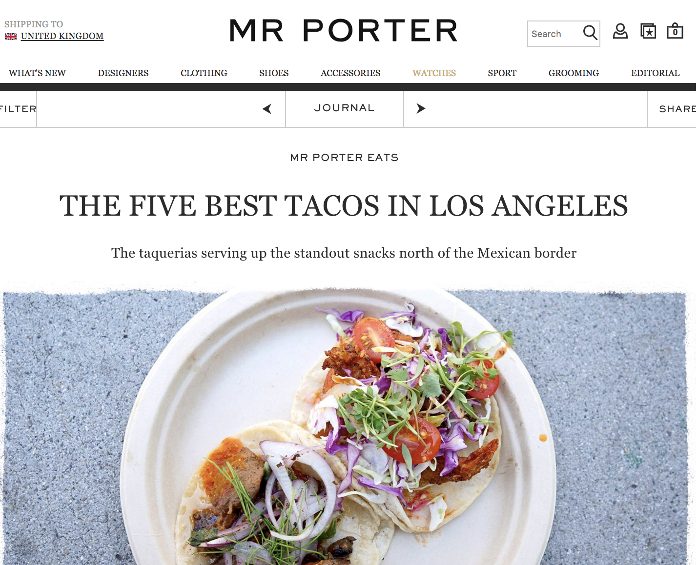 2018: Mr. Porter - Five Best Tacos in Los Angeles