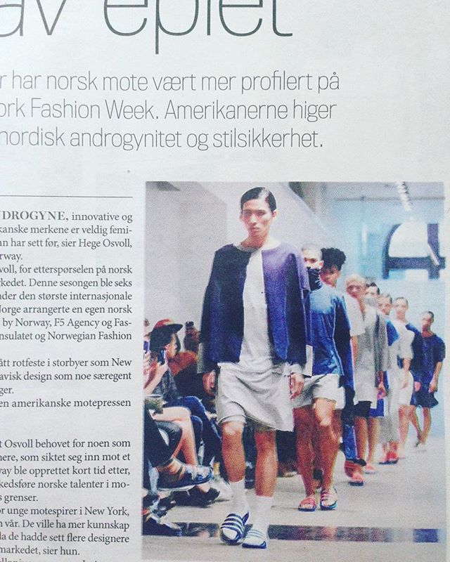 Our show at NYFW is featured in the Norwegian newspaper Finansavisen today with @fashionbynorwaycom #finansavisen #apolloniusclothing #fbn #nyfw #nyc 📷 @callehuth