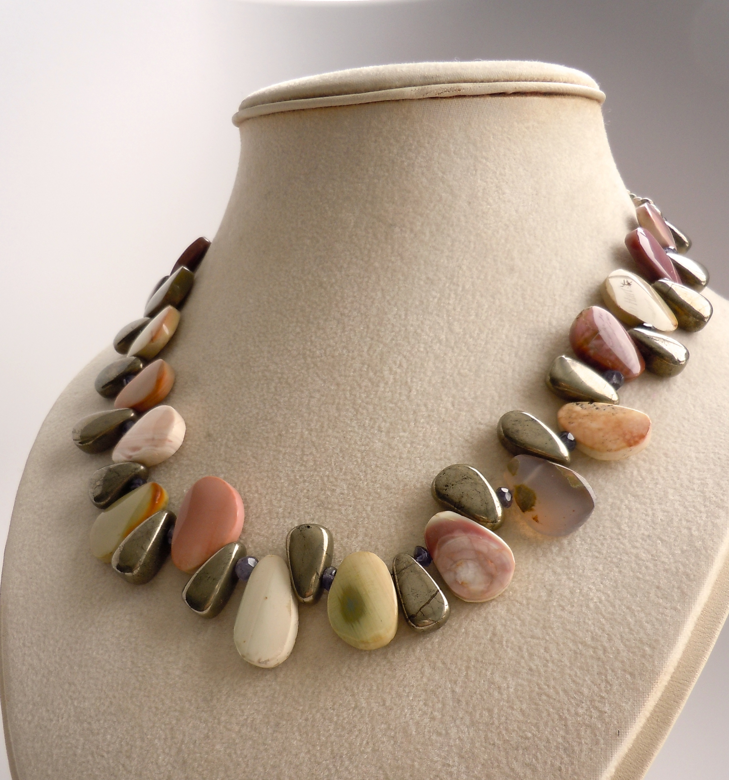 Fancy Jasper and Pyrite Necklace