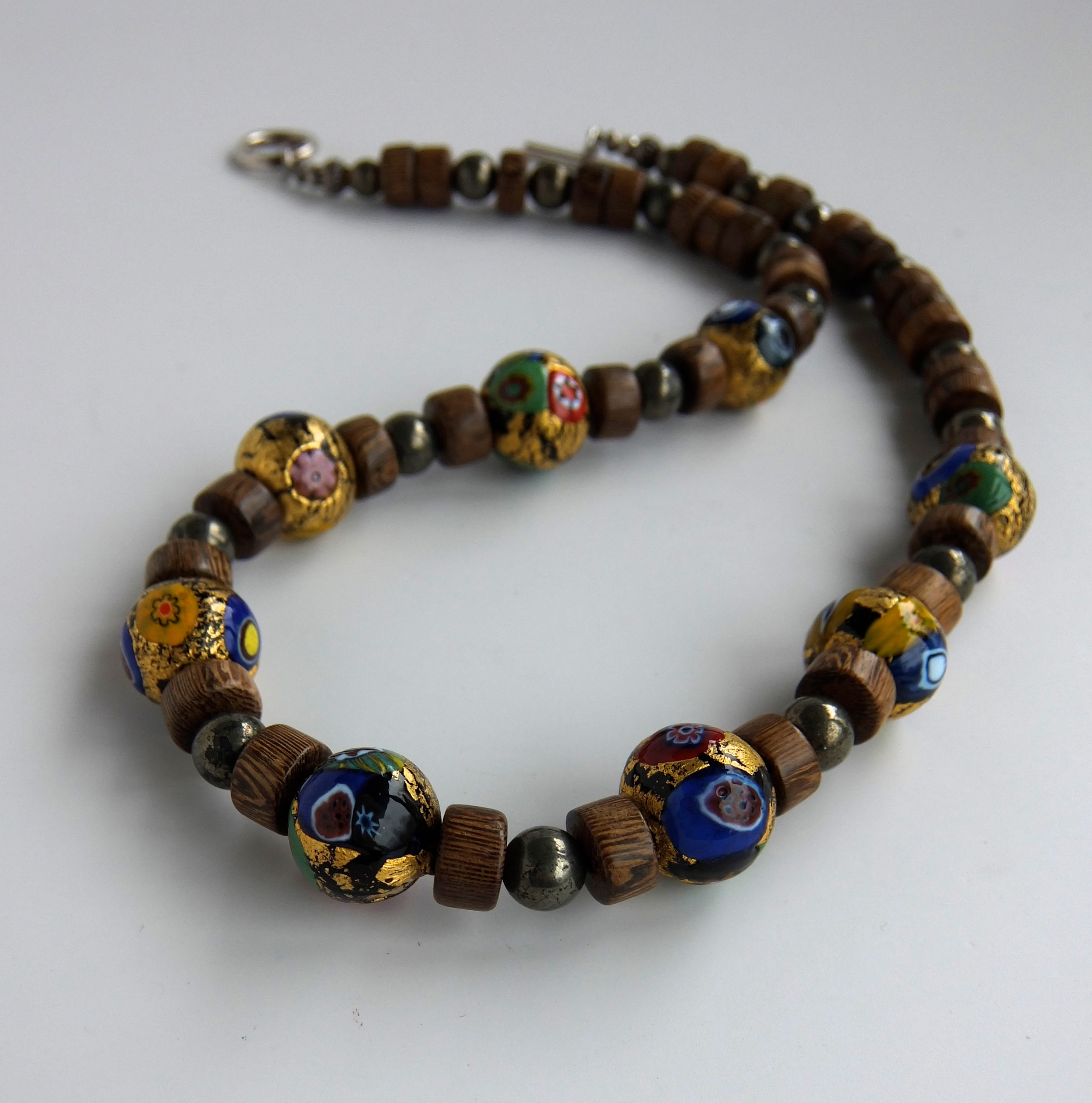 Murano Glass and Palm Wood Necklace