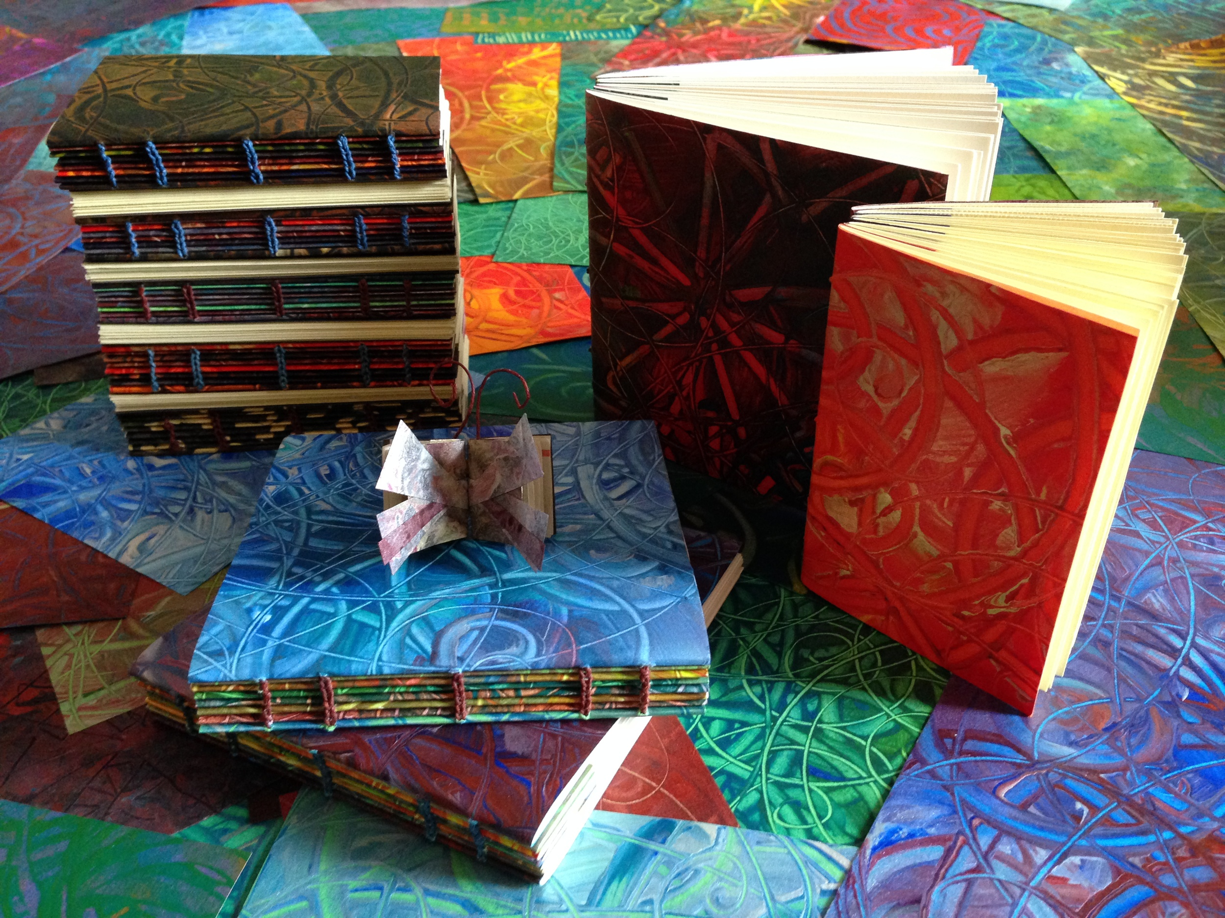 Paste paper books with coptic binding, 2014