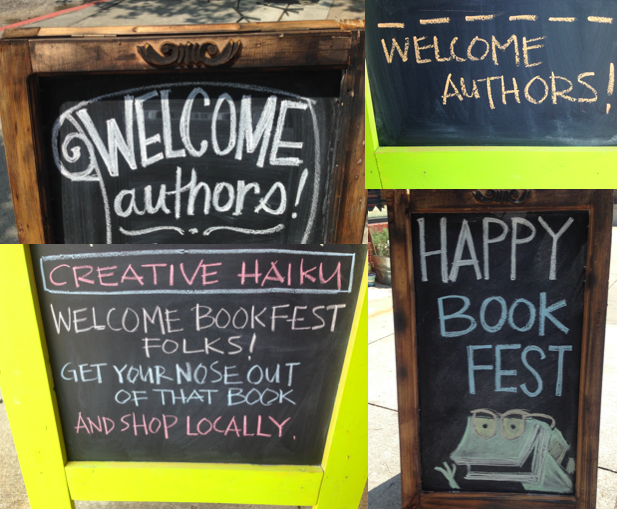 Welcome signs at the Decatur Book Festival in Decatur, GA (September)