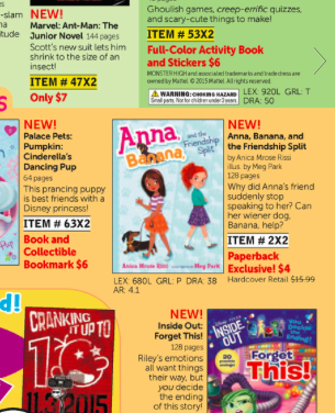 Lucky Scholastic Reading Club flyer, October 2015