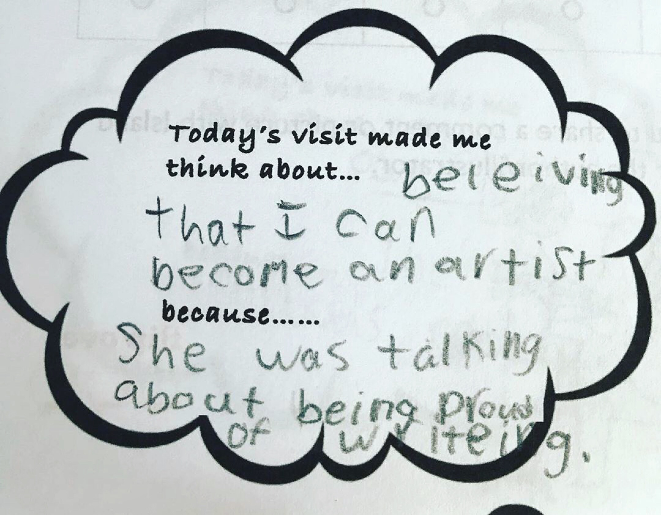 Post-visit feedback from a 3rd-grade student
