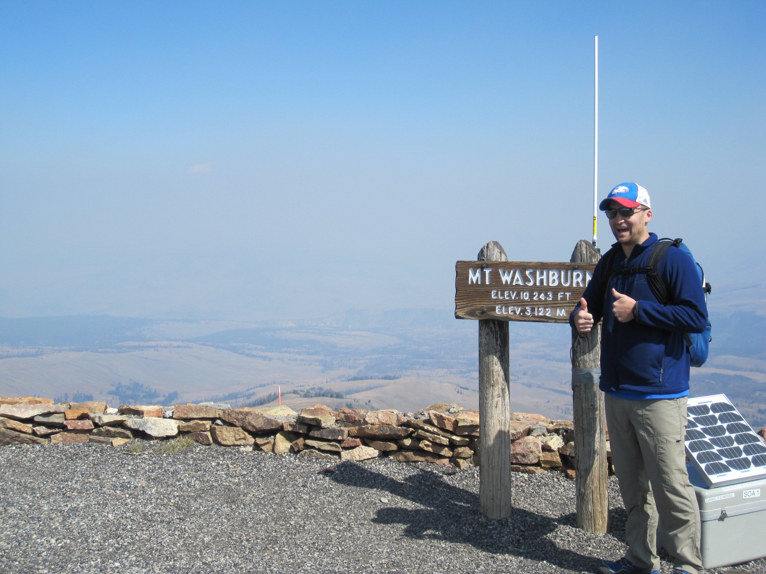 This is how Adam looked at the top of Mt. Washburn. Genuine happiness.