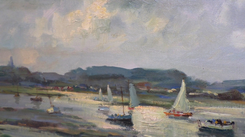 Jack Cox Oil Painting of North Norfolk Coast - Close up image showing his use of oil paint to show the light. For Sale this is a large work and great value.
