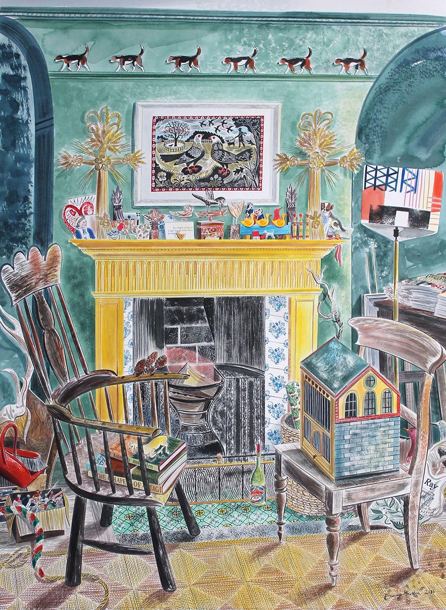 Emily Sutton Watercolour - Yellow Fireplace