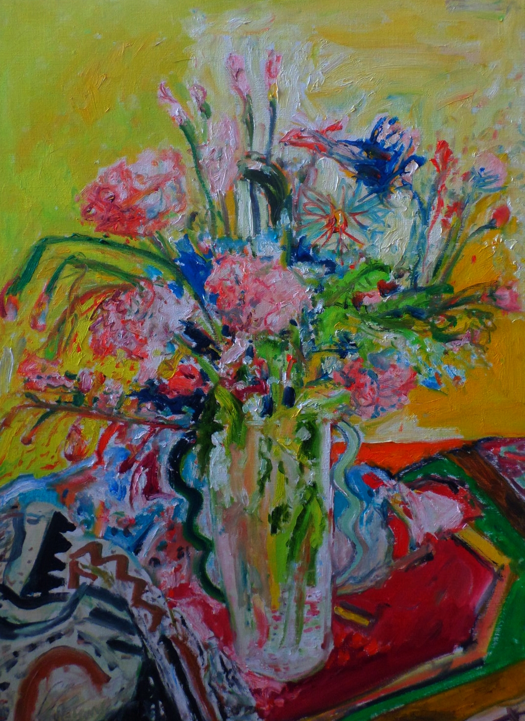 Oil on canvas. Still life Flowers by John Bellany.