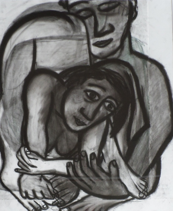 Eileen Cooper charcoal painting for sale