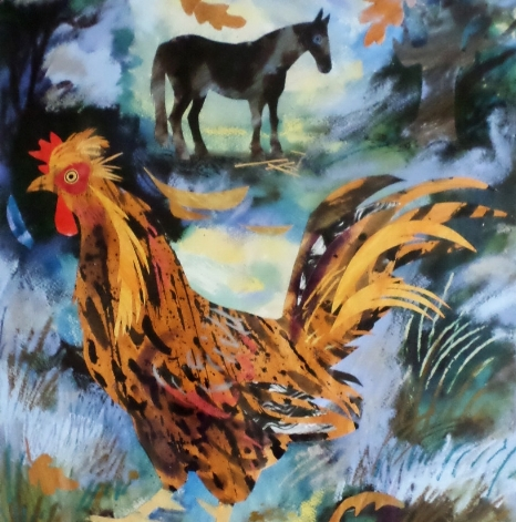Cockerel and Gypsy Horse