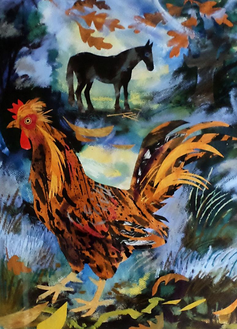 Mark Hearld Collage 'Cockerel and Gypsy Horse'