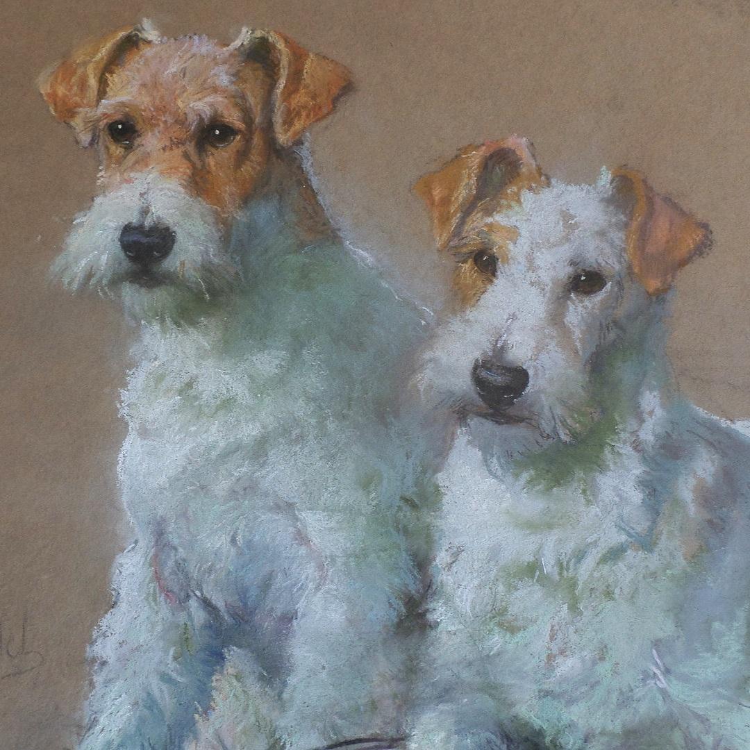 Fox Terriers Pastel drawing