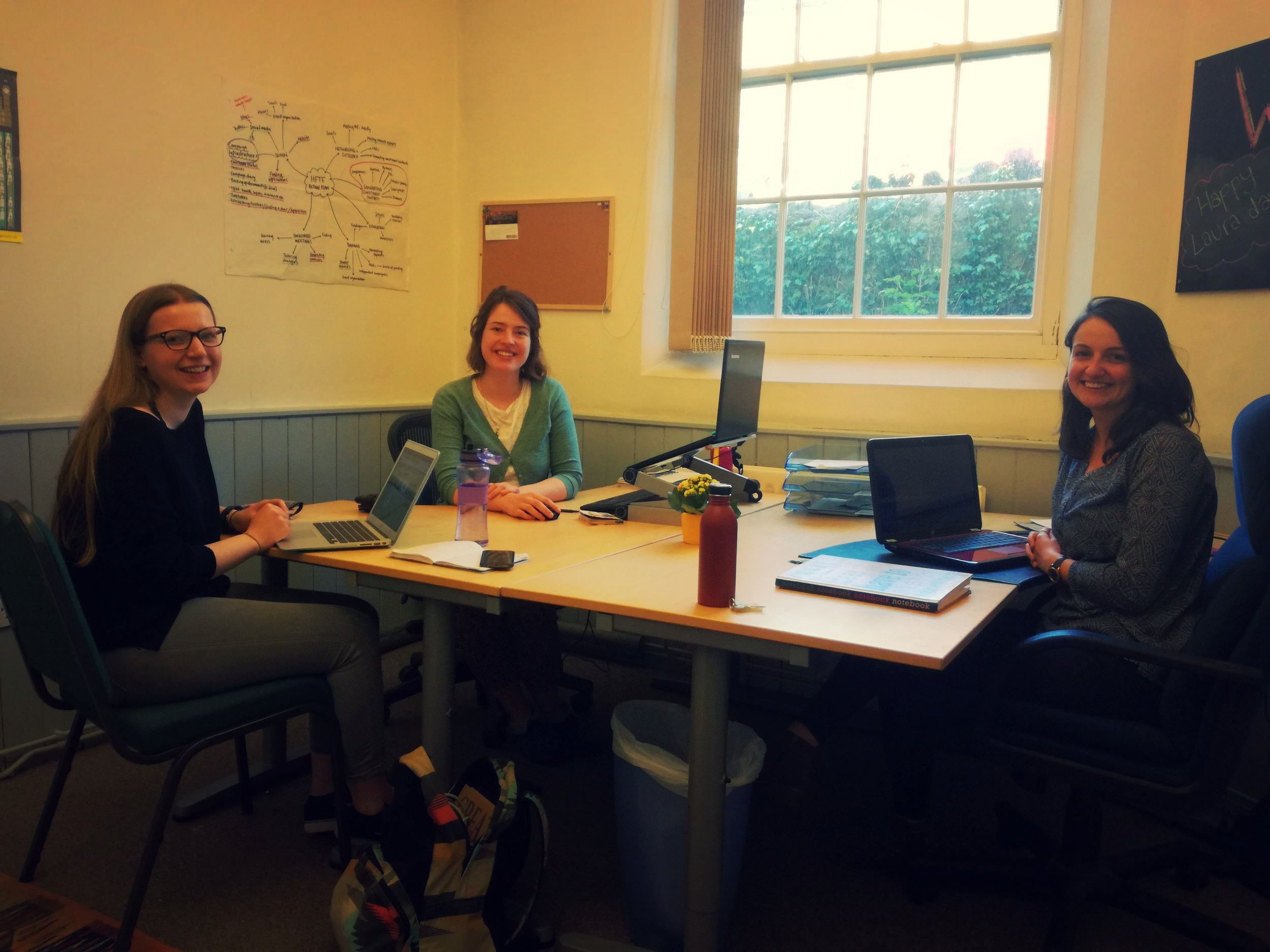 Laura, Jo and Sarah in the new office