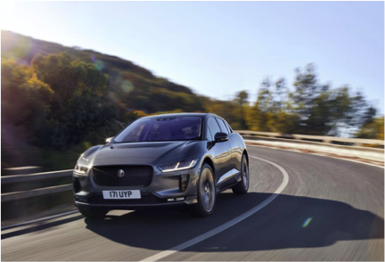 The Jaguar I-Pace, a fully electric vehicle made in Britain won car of the year in 2018. The car can travel 300 miles on a full battery.  Image Source:  Jaguar