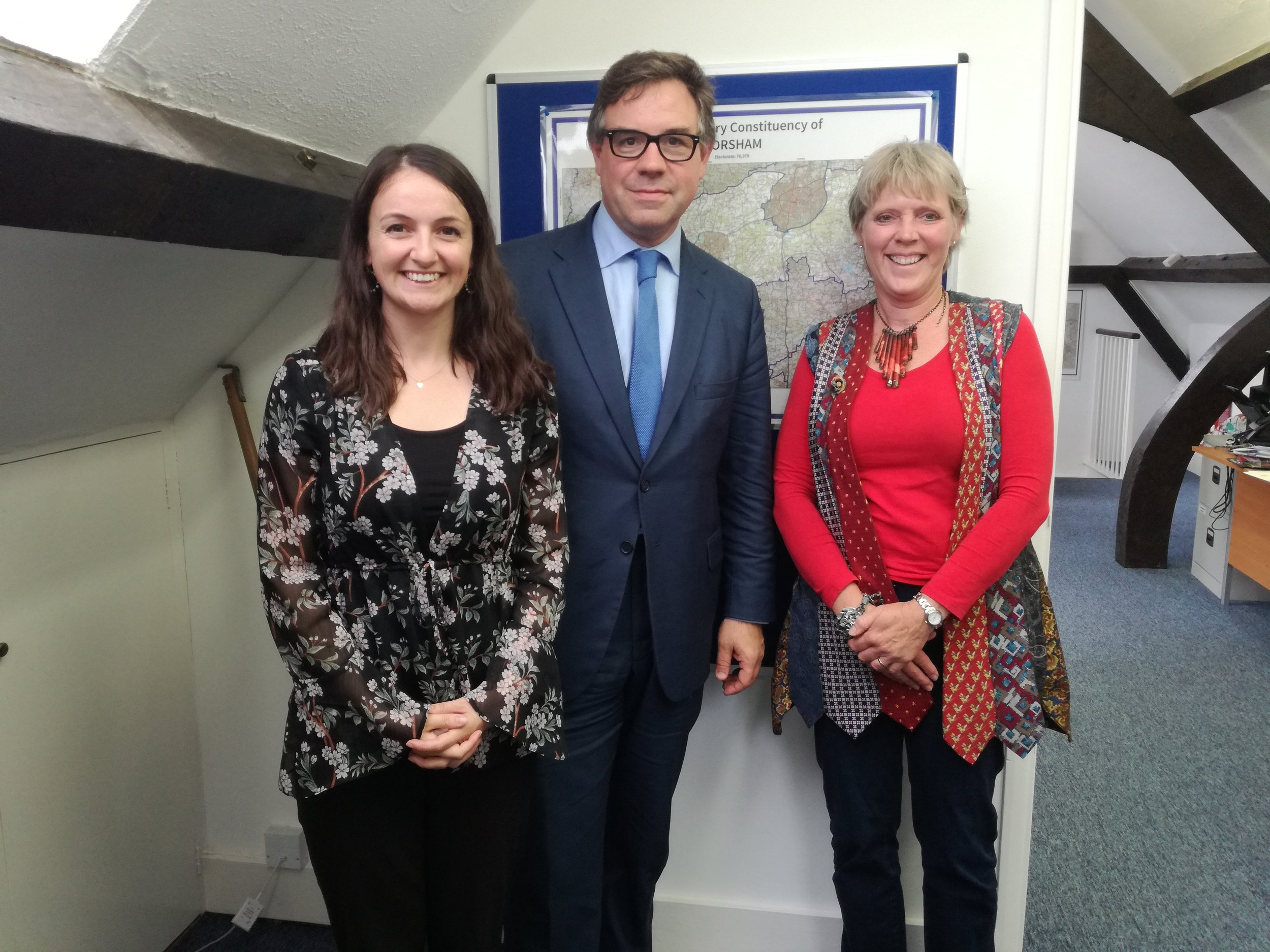 (Left to right), Sarah Robinson, Jeremy Quin and Carrie Cort met to talk about the Government's commitments to net zero emissions and the local work going on in Horsham.