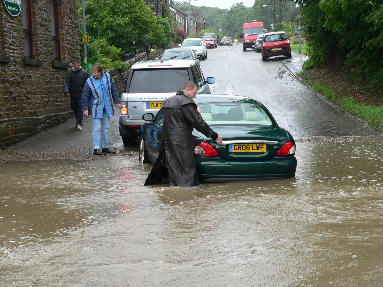 Torrential rainfall in South Yorkshire on the 25th June 2007 led to the beck flooding in the afternoon. Photograph by Wendy North.