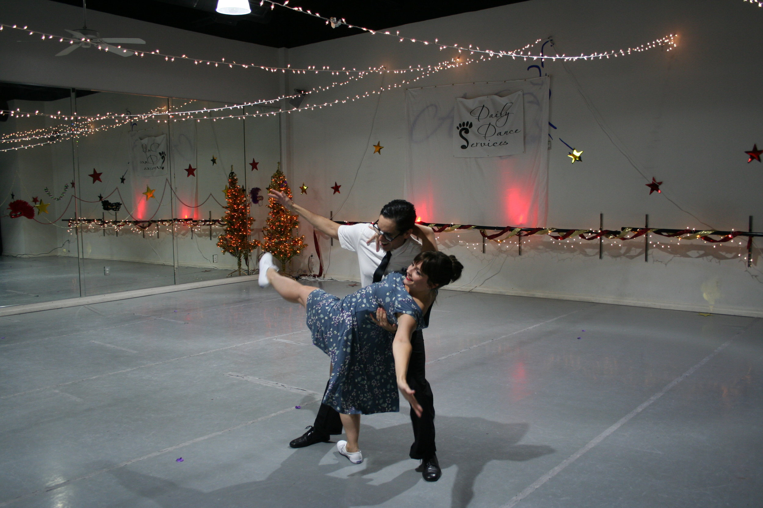 Two Daily Dance students performing a Swing routine