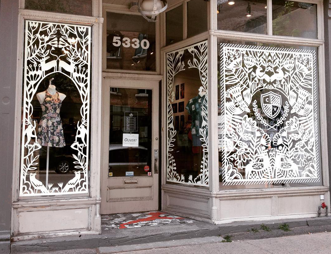 Paper cut-out window installation by Yelena Bryksenkova