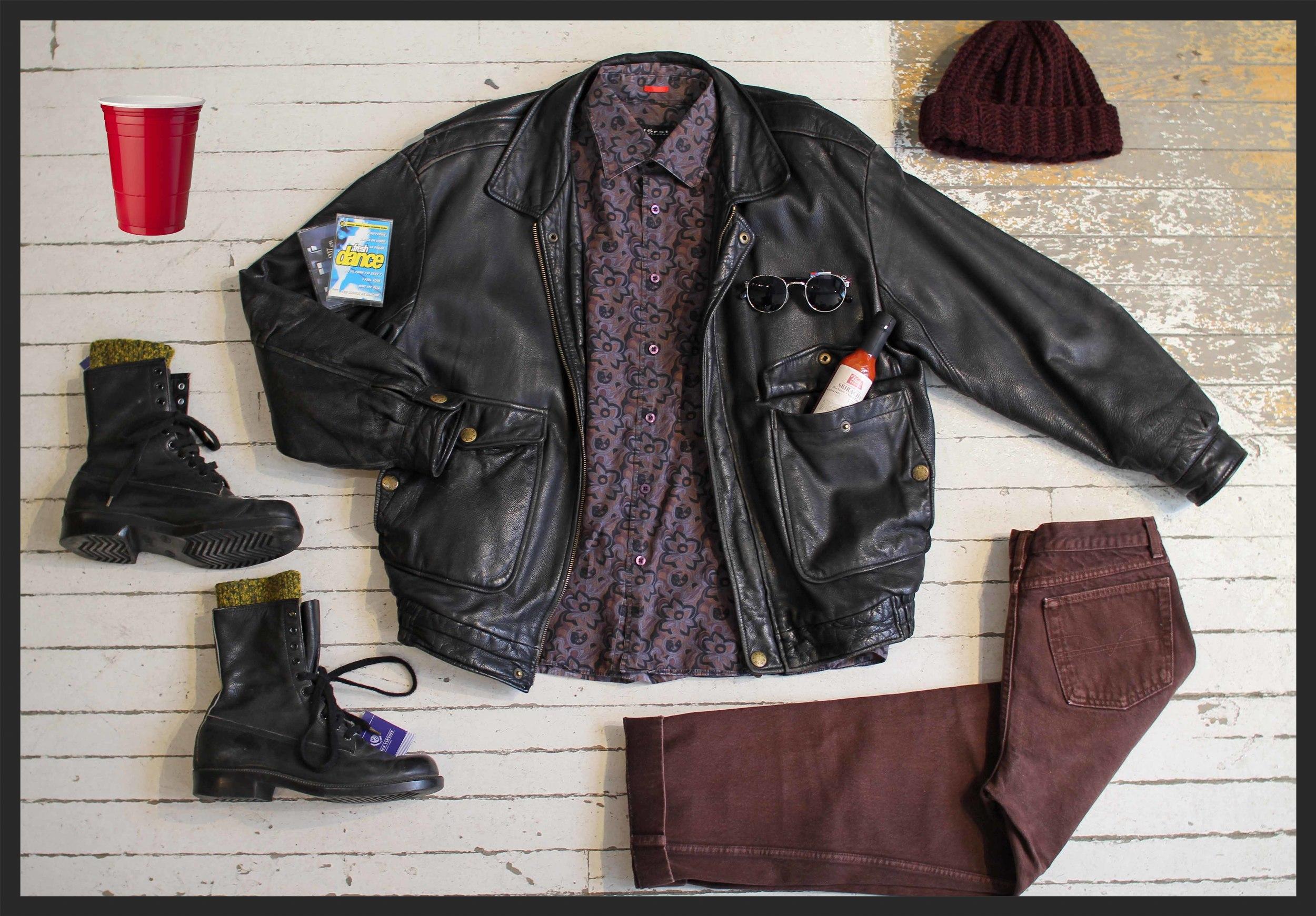 Leather jacket: $89, dress shirt: $29, jeans: $48, Boots:$52, socks: $16, handmade Miyuki Crochet beanie: $48, sunglasses: $34,Vicki's Veggies hot sauce: $8.50