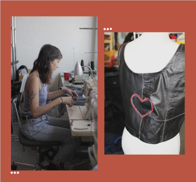 Sara working on her creations!