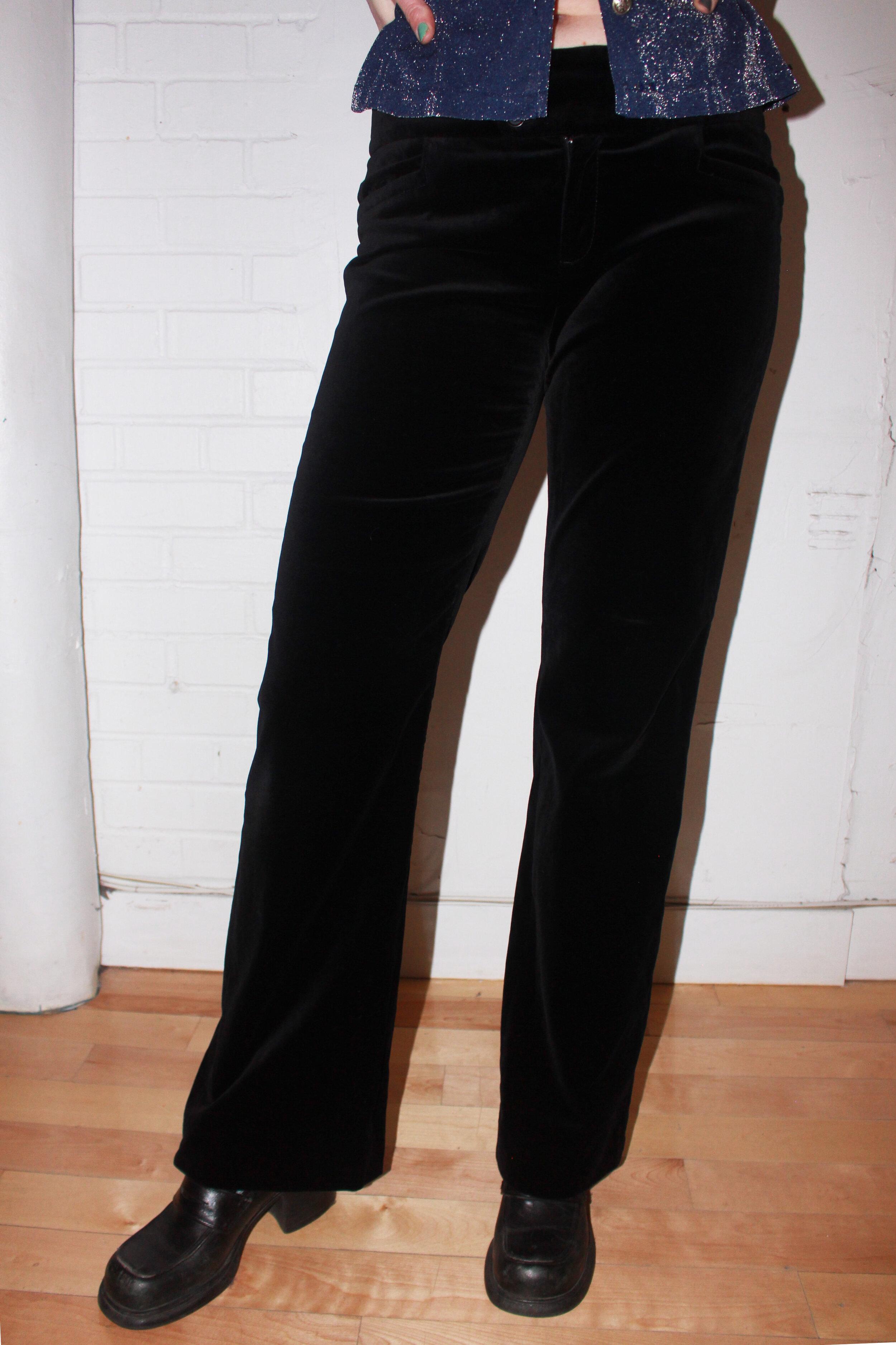 Black Velvet Pants With Buttons L Citizen Vintage