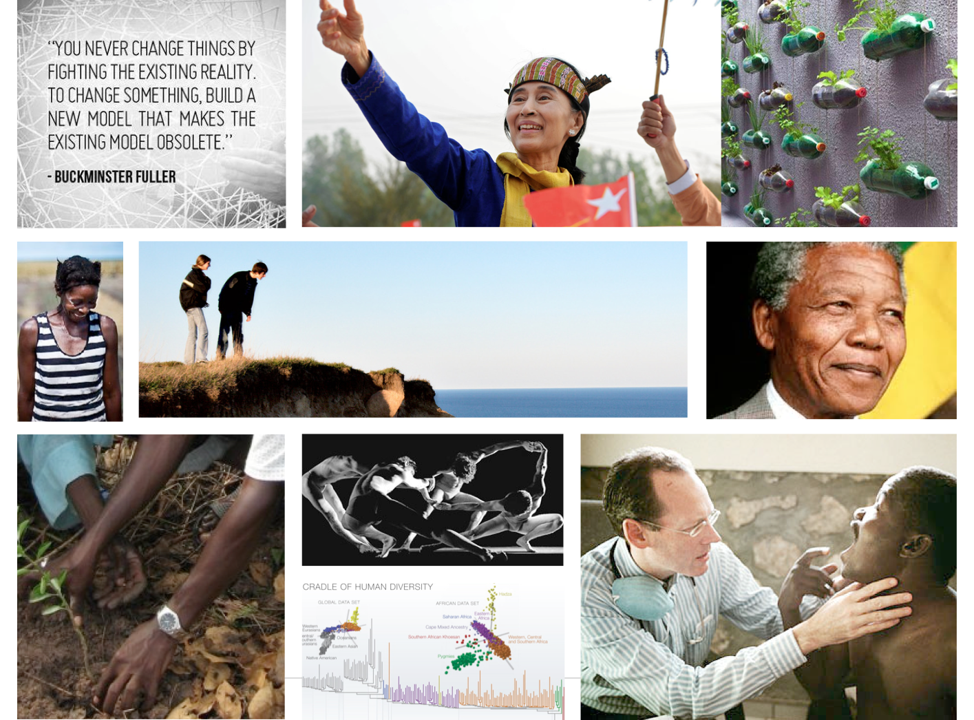 Moodboard evoking the brand attributes of the organization: engaging, life-changing, sustainable, humanitarian
