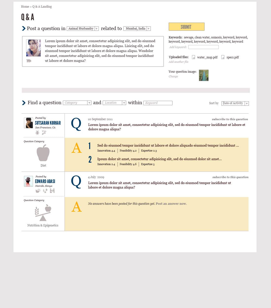 Q&A Landing page